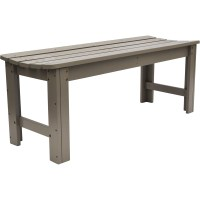 Backless Wooden Outdoor Bench in Outdoor Benches